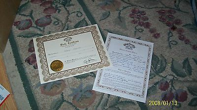 CABBAGE PATCH SOFT SCULPTURE BIRTH CERT/ADOPT PAPER TIGER EYE ed 88/89 pic 1 set