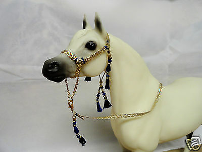 Arabian Halter for Breyer or Peter Stone Models--Blue & Gold
