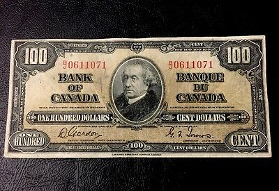 1937 - One Hundred Dollar Canadian Banknote - 100$, Gordon/Towers