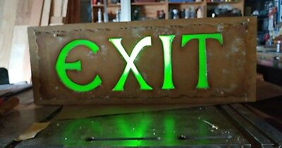"1927 Deco Huge Metal EXIT Sign Orig Paint & Glass 9""x26"" SEATTLE ORPHEUM THEATER"