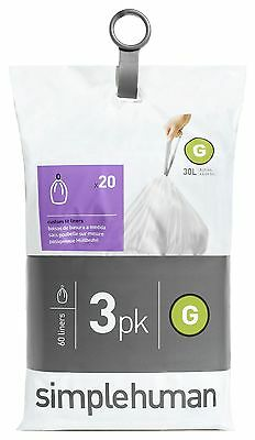 simplehuman Bin Liner Code G 3 x 20 Pack 60 Liners -From the Argos Shop on ebay