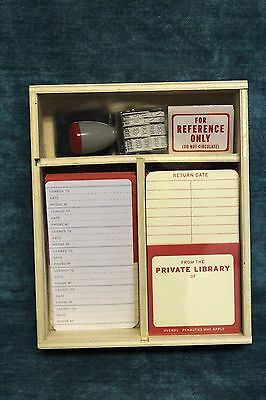 Knock Knock Personal Library Kit 28 Self Stick Pockets 6 Record Cards w/Wood Box