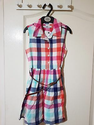 M&S Girls Check Dress With Belt Age (5-6-9-10)