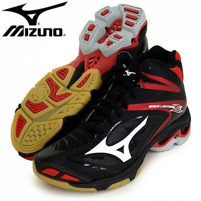 New Mizuno Men's WAVE LIGHTNING Z 3 MID Volleyball Shoes V1GA1705 Black Red
