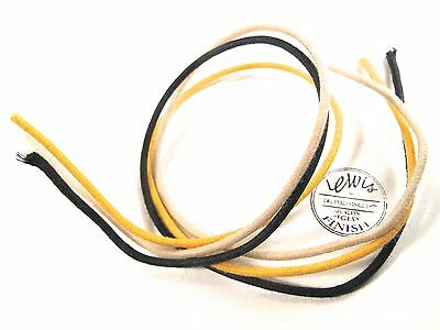 1 Foot Of Each Vintage Style Cloth Wax Wire 22Awg - Black - Yellow - White