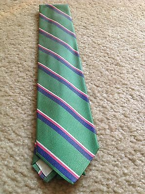 New Brooks Brothers 346 Stripe Red Green Blue Stripes Silk Tie Made in USA