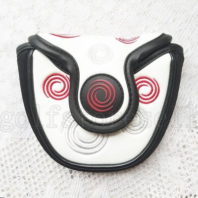 New White Magnetic Semicircle Golf Head Cover Mallet Putter Cover for Odyssey