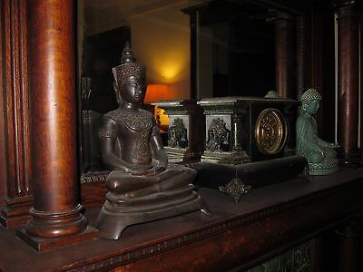 Large Antique Thai Thailand Seated Bronze Buddha Statue Figure