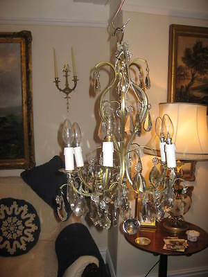 Stunning French Antique Vintage 6 Branch Chandelier & Lots Of Crystal Drops 3793