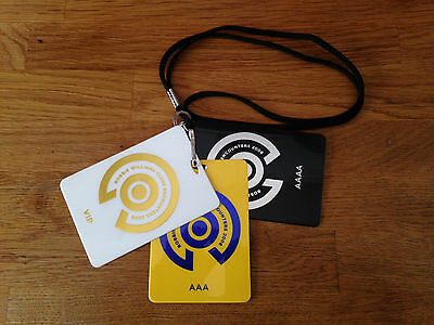 Robbie Williams Back stage pass laminate Take That Gary Barlow