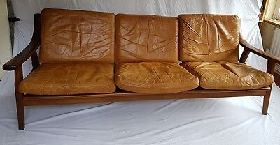 Hans Wegner GE 530 Danish Mid Century oak & leather sofa by Getama Denmark 1970s