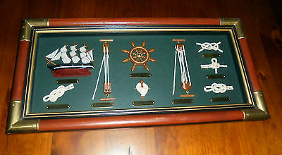 Shadow box wall picture ~ 1869 Cutty Sark Replica ~ plus ship knots & wheel ~ GC