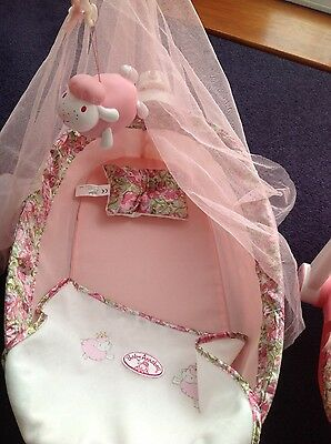 Baby Annabell Dolls Rocking Cradle / Crib With Music And Lights Sheep - Used