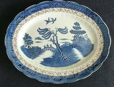 Booths Real Old Willow Blue & White China 31 cm Oval Plate / Meat Platter