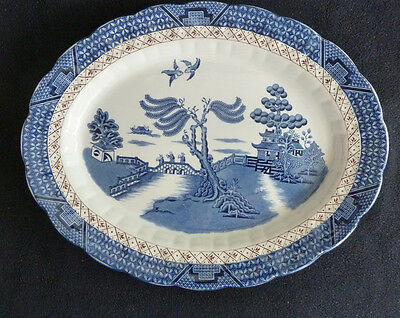 Booths Real Old Willow Blue & White China 35 cm Oval Plate / Meat Platter