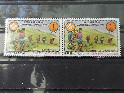 Paire 2 timbres neuf Grenada : Rassemblement scoutisme - Marcheurs