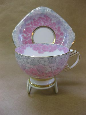 Paragon Pink Hydrangea Pattern Coffee Cup & Saucer ~ Queen Mary Service ~ 1930's