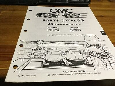 OMC Evinrude Johnson parts catalog (1990) - 40 hp commercial models