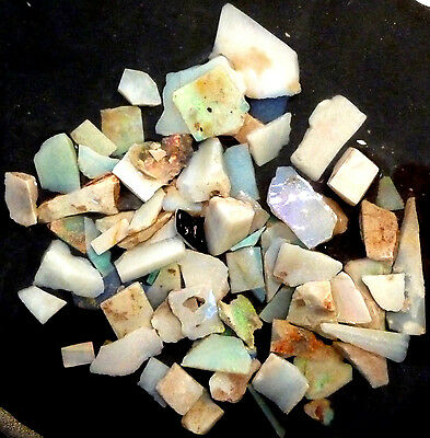 Parcel of Pretty Multicolour Australian Andamooka Rough Opal Slices, 1.2ozs