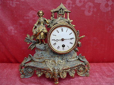 Beautiful, ANTIQUE FIREPLACE CLOCK __Pendule__ METAL __