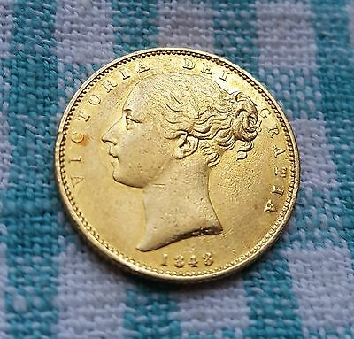 Victoria, Scarce, 1848, Gold Full Sovereign, High Grade, Young Head, Shield Back