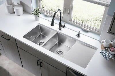 304 Handmade Stainless Steel Kitchen Sink Double Bowls with Drainer (111cmx45cm)
