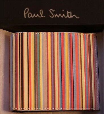 New Paul Smith Mens Wallet Multistripe Classic Black Leather