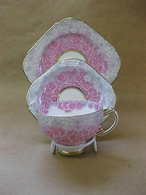 Paragon Pink Hydrangea Pattern Trio ~ Replica of Service for Queen Mary ~ 1930's