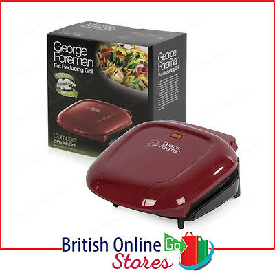 George Foreman 18841 Two Portion Non-Stick Compact Grill in Red