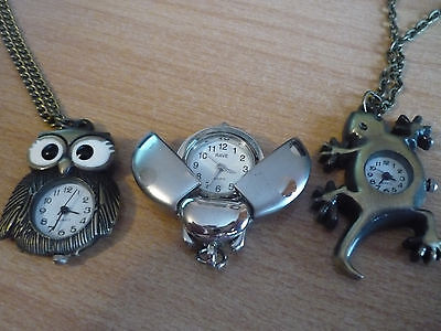 NOVELTY  WATCH PENDANT'.  GECKO/LIZARD. OWL & BEETLE - new batteries
