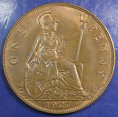 1927 1d George V bronze Penny in an attractive aUNC