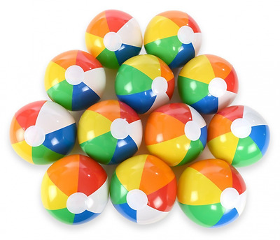 Rainbow Beach Balls Inflatable Pool Toy Kid Play Game Adult Beach Party 12 Piece