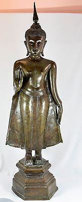 ANTIQUE THAILAND  BRONZE  BUDDHA STANDING STATUE ~ 37 '' Tall ~
