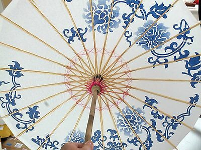 Blue Flower White Paper Parasol Chinese Fancy Party Umbrella Party - Second Z2