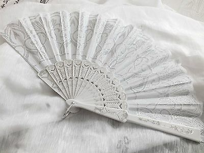 White Silver Floral Hand Fan Wedding Dance Fancy Chinese Spanish Hen Party Aa10