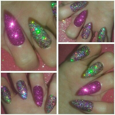 PURE BLING Purple/Gold/Pink Raw Glitter PARTY Stiletto False Nails x 20 Sparkly