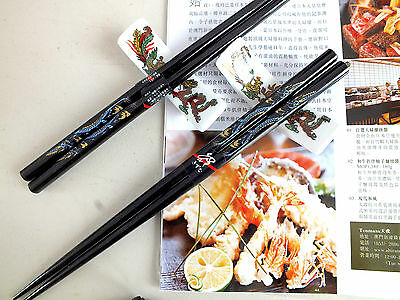 2 JAPANESE BLACK DRAGON CHOPSTICKS w CERAMIC STAND REST CHINESE BIRTHDAY PARTY