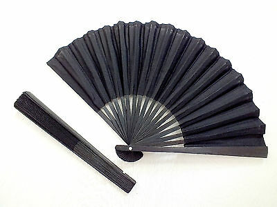 Japanese Black Geisha Hand Fan Fancy Dance Wedding Men's Funeral Chinese Party
