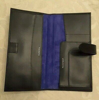 Aspinal of London Travel Documents Holder/Wallet. New. Black Leather