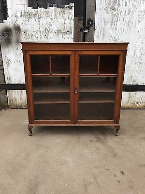 Oak Glazed Bookcase, Antique Display Cabinet, Vintage Shelves