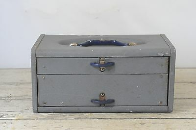Vintage Kennedy TC 14AL Tackle Box Small Parts Tool Metal 2 Drawer Cabinet Chest
