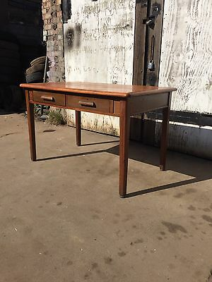 Vintage Industrial Mid Century Wooden Writing Table Desk 2 Drawers