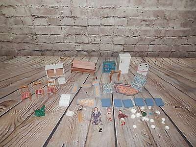 Antique Vintage Doll House People Family Bendable Wrapped Leg Wood Furniture 955