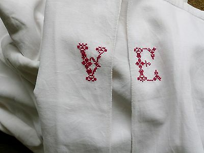 Vintage French Cotton Metis Sheet Embroidered Initials Ve