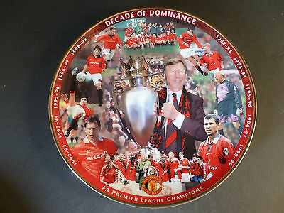 "Danbury Mint Manchester United Fc Collector Plate ""decade Of Dominance"""
