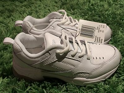 Kids Boys Girls Premium LEATHER Jogger Shoes Sneakers Runners WHITE Sz 11 Crane