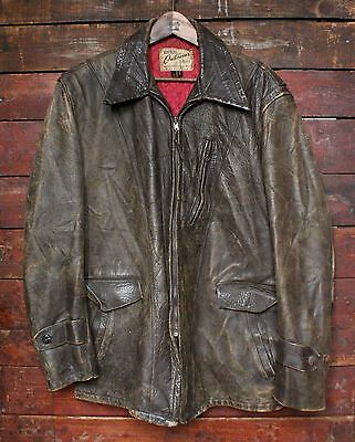 VTG 50s HERCULES HORSEHIDE LEATHER HALF-BELT BARNSTORMER JACKET MOTORCYCLE LARGE