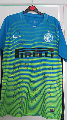 """Signed """" INTER MILAN """" 2016/17 THIRD Shirt Signed by 21 (EXACT PROOF & COA)"""