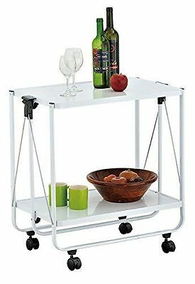 ViVo© White Handy Kitchen Trolley Side Car Collapsible Serving & Equipment Troly