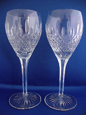 Pair Stuart Crystal Shaftesbury Cut Water Goblets or Large Wine Glasses - Signed
